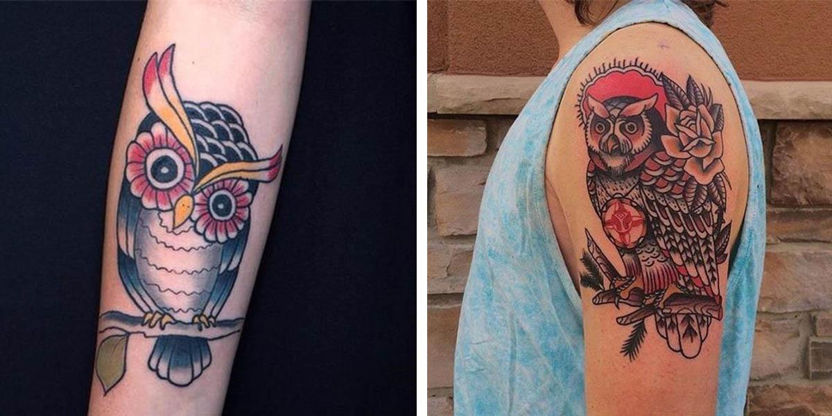 Tatuajes de búhos old school
