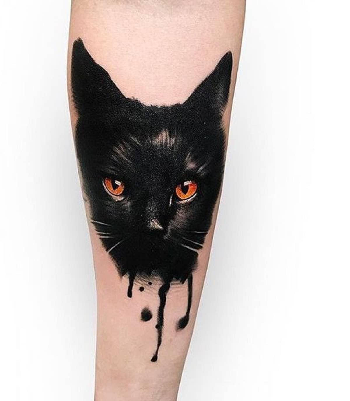 tatuaje gato negro acuarela