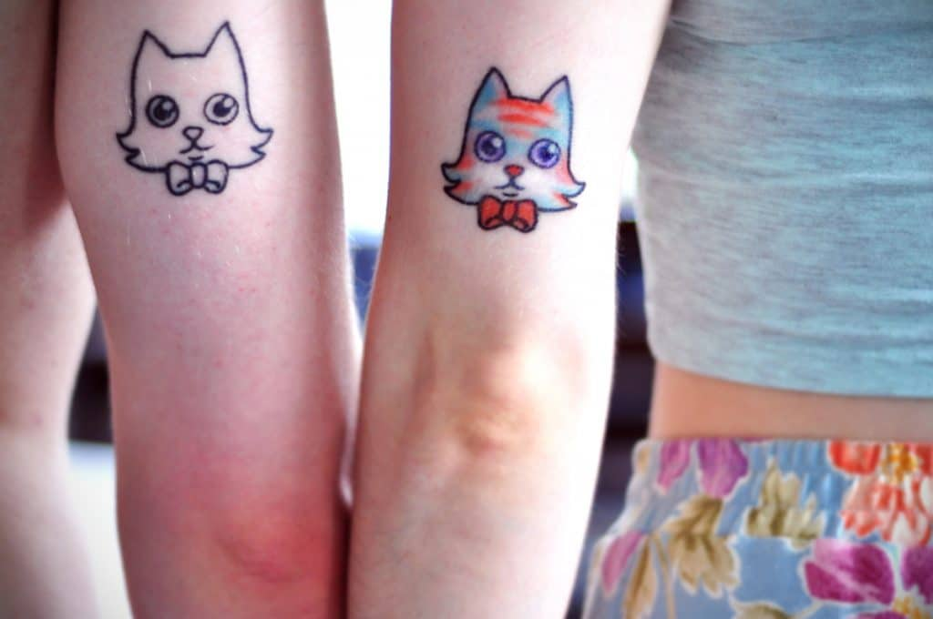 Tatuajes de Gatos Sencillos Cartoon