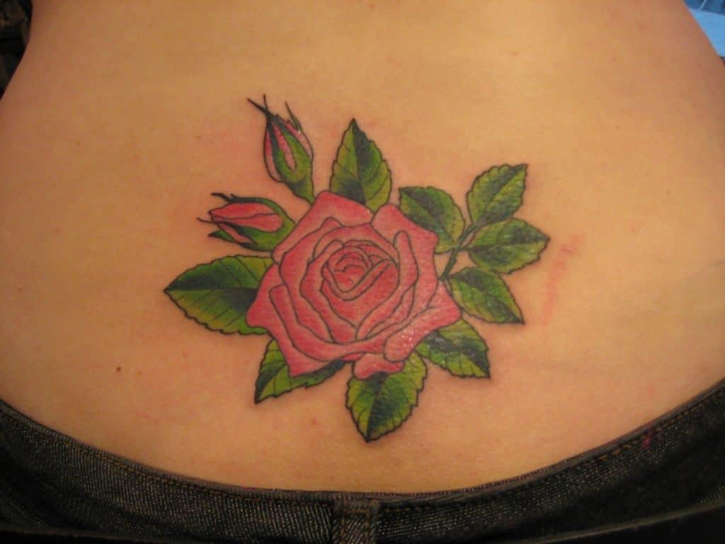 Tatuaje Rosas Pequeñas Espalda