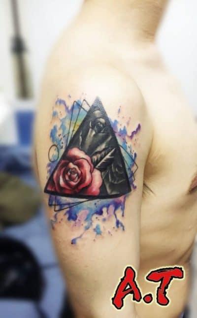 Tatuaje Rosas Pequeñas Geométrico