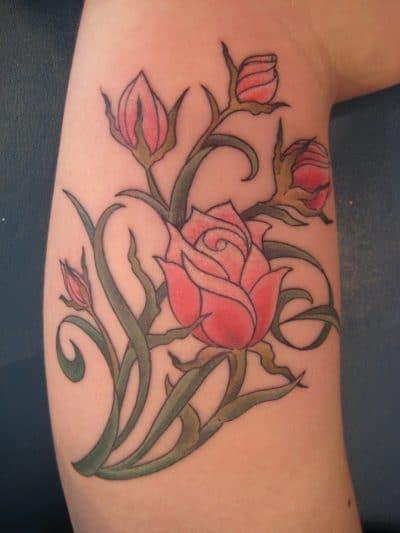 Tatuaje Rosas Pequeñas Verde