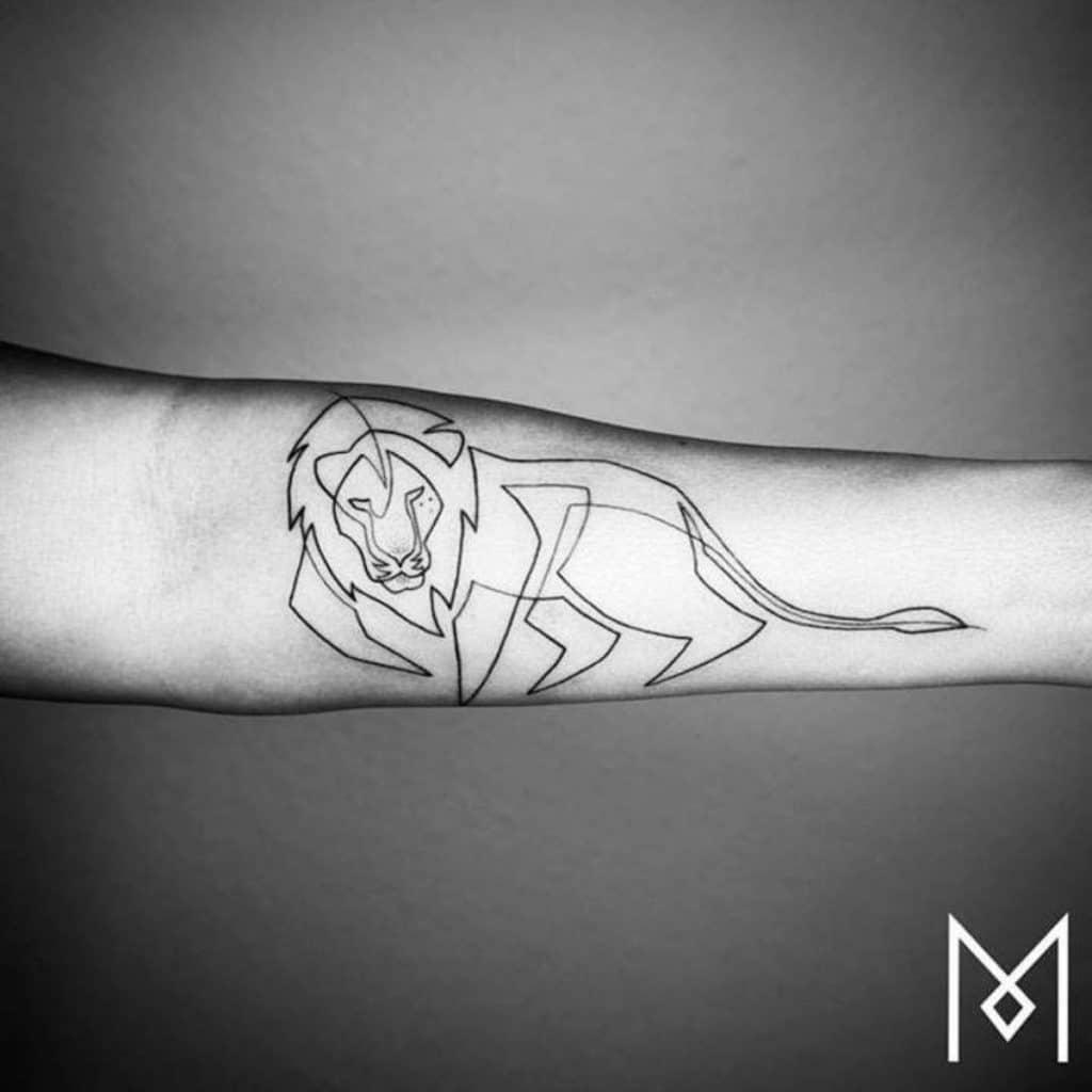 Tatuajes del Signo Leo Línea